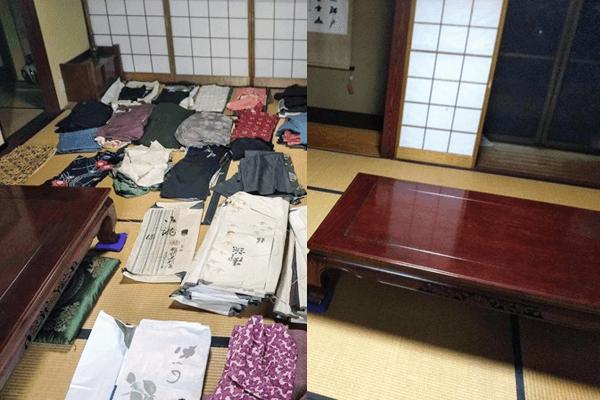 一軒家片付け作業にてタンスや着物をまるごと処分